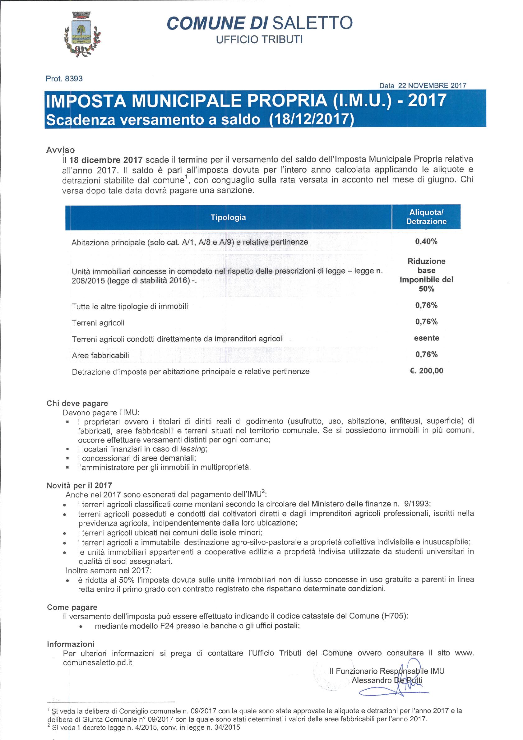 Imposta comunale propria imu 2017 scadenza versamento for Scadenza versamenti unico 2017